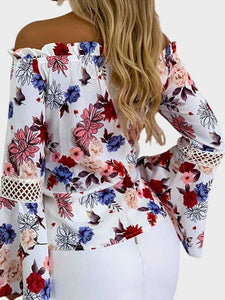 floral-off-shoulder-blouse-without-necklace -Findalls