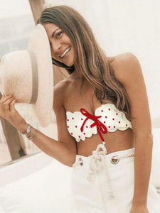 bandeau-lace-up-polka-dot-bikinis-swimsuit -Findalls