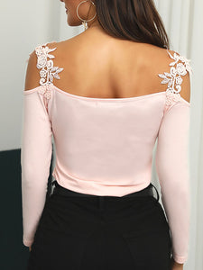 lace-applique-long-sleeve-slim-fit-casual-blouse -Findalls