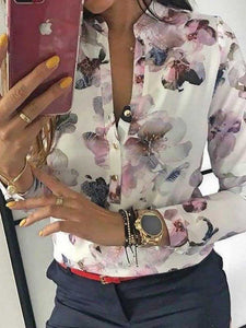 floral-print-button-up-long-sleeve-blouse -Findalls