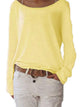 solid-color-round-neck-long-sleeve-casual-loose-blouse -Findalls