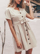 solid-color-simplee-vintage-v-neck-short-sleeve-belt-button-casual-a-line-dress -Findalls