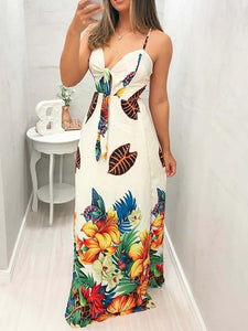 butterfly-floral-print-tied-front-maxi-dress -Findalls