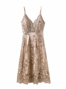 khaki-v-neck-embroidery-scalloped-hem-lace-strap-dress -Findalls