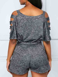 grey-belted-pocket-top-and-shorts -Findalls