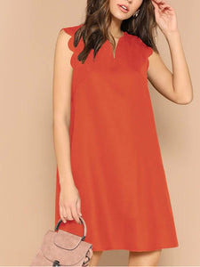 solid-scalloped-trim-trapeze-dress -Findalls