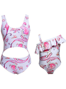mother-and-daughter-swimming-kids-printed-one-piece -Findalls