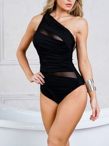 black-sexy-one-shoulder-backless-hollowing-out-one-pice-swimsuit -Findalls