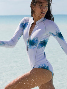 leaf-print-zipper-long-sleeve-one-piece-swimsuit -Findalls