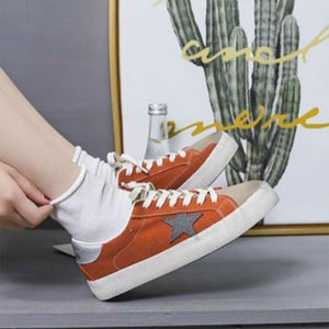 Women Colorblock Star Embellished Lace-up Sneakers