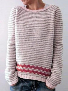 Women Fashion Plus Size Casual Striped Sweaters