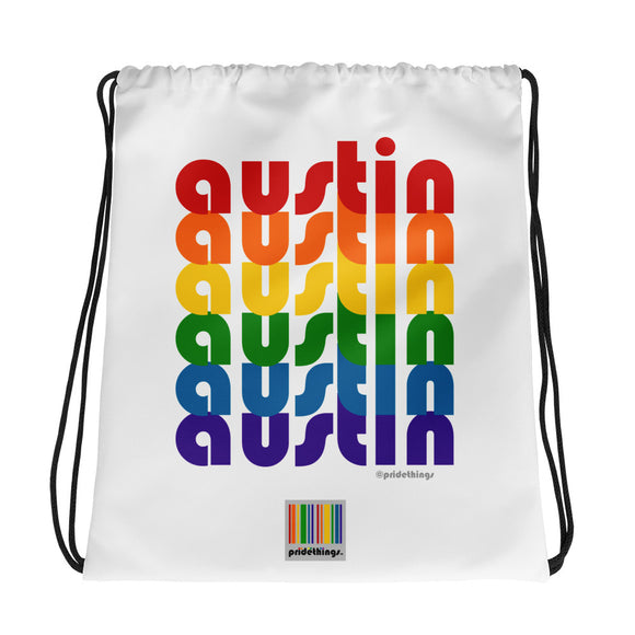 Austin Pride Rainbow Drawstring Bag by Pridethings™