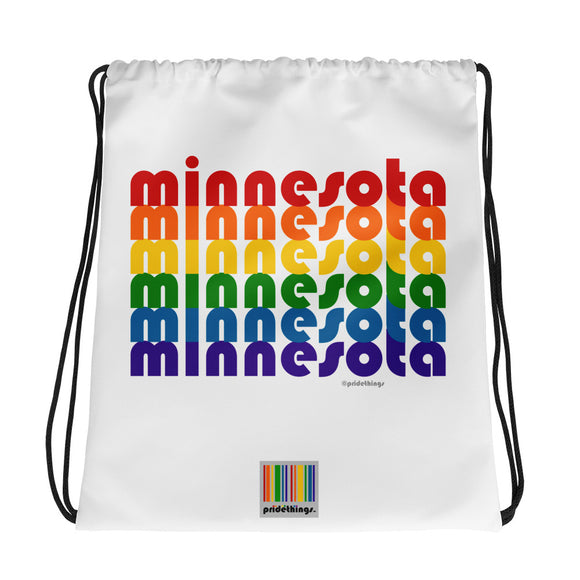 Minnesota Pride Rainbow Drawstring Bag by Pridethings™