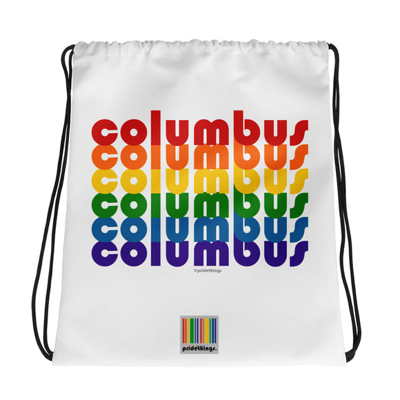 Columbus Pride Rainbow Drawstring Bag by Pridethings™