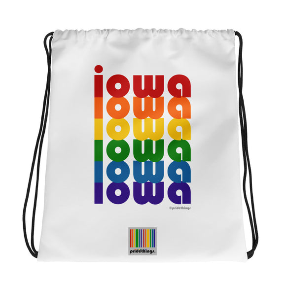 Iowa Pride Rainbow Drawstring Bag by Pridethings™