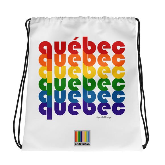 Québec Pride Rainbow Drawstring Bag by Pridethings™