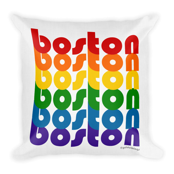 Boston Pride Rainbow Throw Pillows by Pridethings™ ~ Square or Rectangular