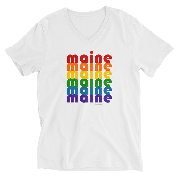 Maine Pride Rainbow Unisex Short-Sleeve V-Neck T-Shirt by Pridethings™