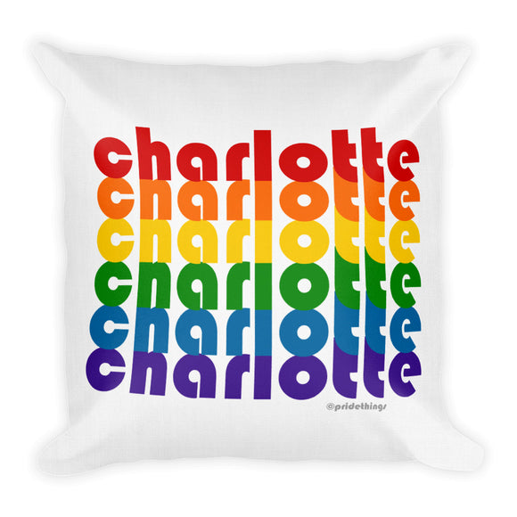 Charlotte Pride Rainbow Throw Pillows by Pridethings™ ~ Square or Rectangular
