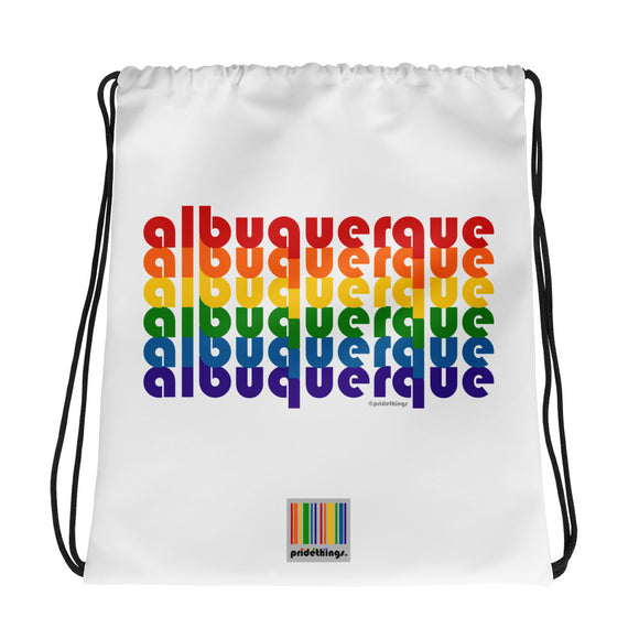 Albuquerque Pride Rainbow Drawstring Bag by Pridethings™