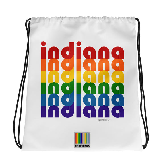 Indiana Pride Rainbow Drawstring Bag by Pridethings™