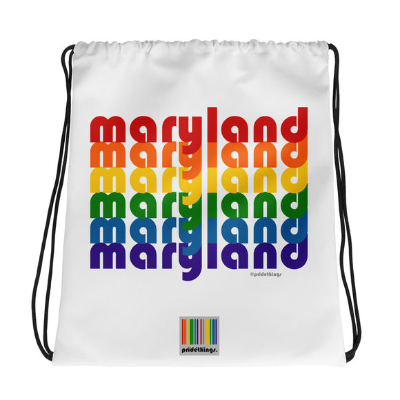 Maryland Pride Rainbow Drawstring Bag by Pridethings™