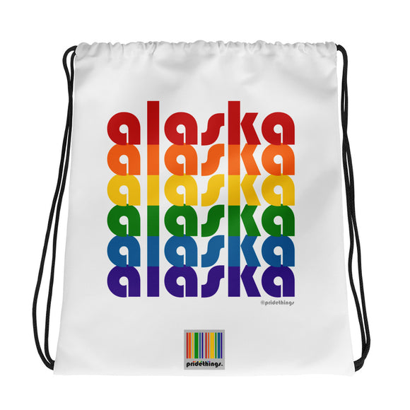 Alaska Pride Rainbow Drawstring Bag by Pridethings™