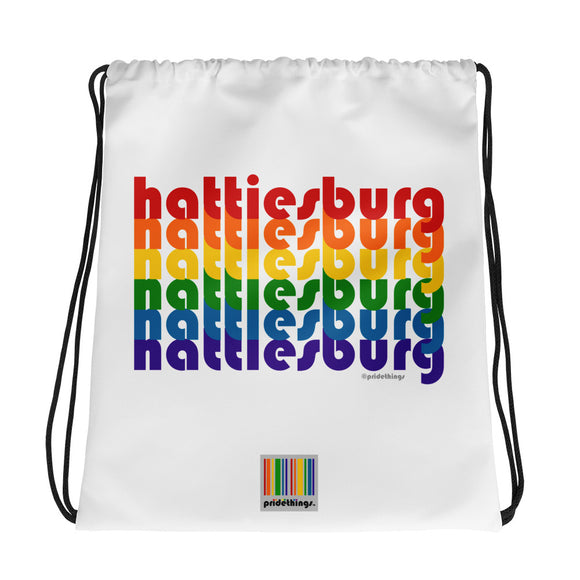 Hattiesburg Pride Rainbow Drawstring Bag by Pridethings™