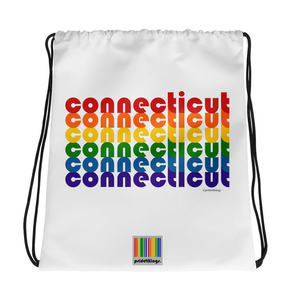 Connecticut Pride Rainbow Drawstring Bag by Pridethings™