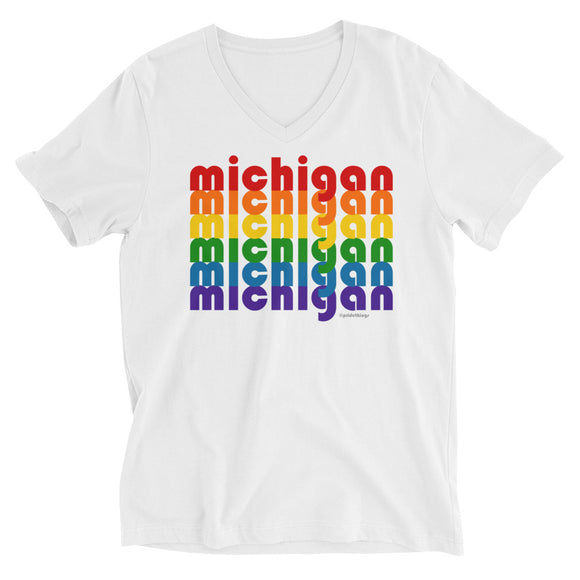 Michigan Pride Rainbow Unisex Short Sleeve V-Neck T-Shirt by Pridethings™