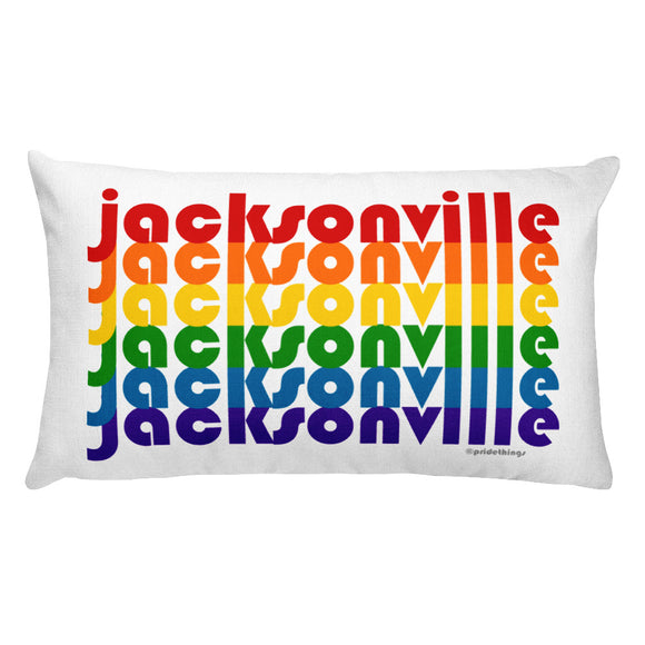 Jacksonville Pride Rainbow Throw Pillows by Pridethings™ ~ Square or Rectangular