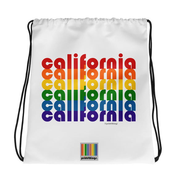 California Pride Rainbow Drawstring Bag by Pridethings™
