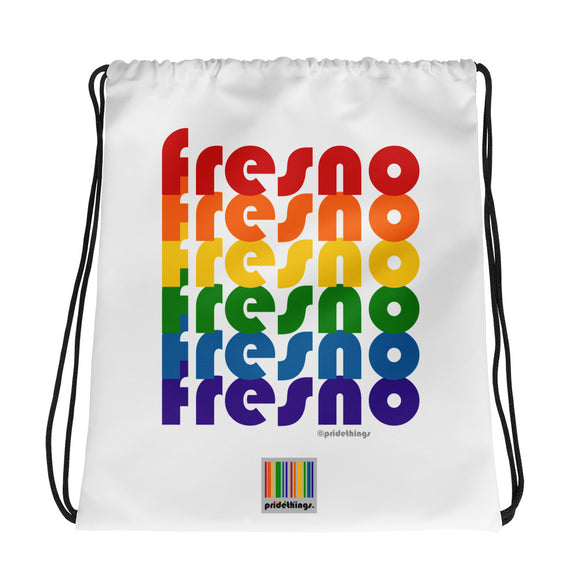 Fresno Pride Rainbow Drawstring Bag by Pridethings™