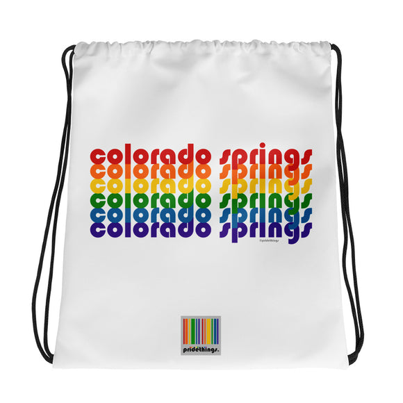 Colorado Springs Pride Rainbow Drawstring Bag by Pridethings™