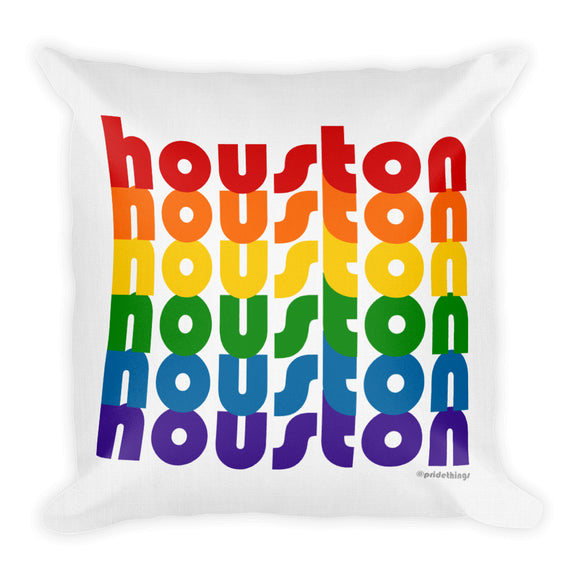 Houston Pride Rainbow Throw Pillows by Pridethings™ ~ Square or Rectangular