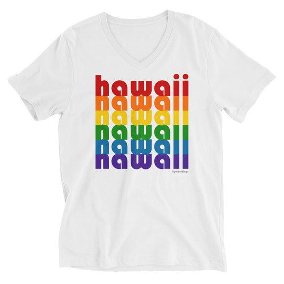 Hawaii Pride Rainbow Unisex Short Sleeve V-Neck T-Shirt by Pridethings™