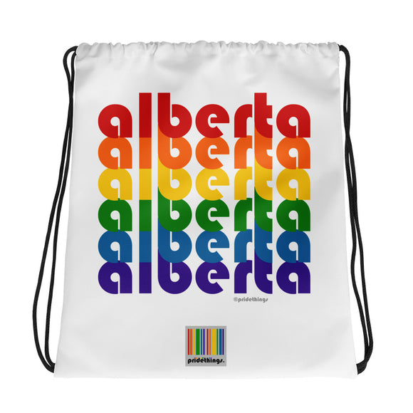 Alberta Pride Rainbow Drawstring Bag by Pridethings™