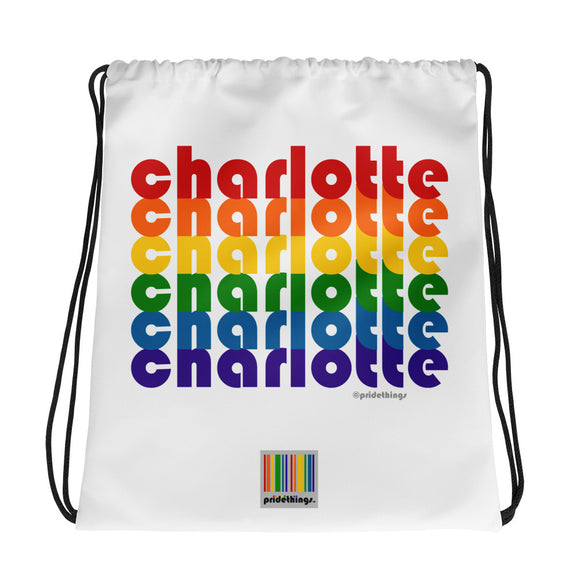 Charlotte Pride Rainbow Drawstring Bag by Pridethings™