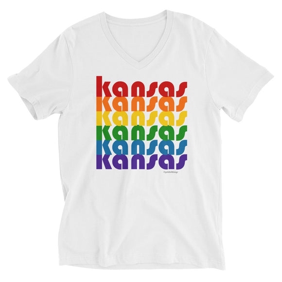 Kansas Pride Rainbow Unisex Short-Sleeve V-Neck T-Shirt by Pridethings™