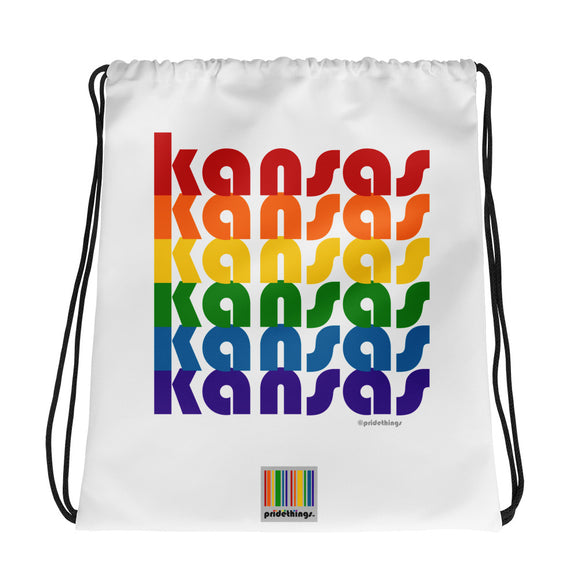 Kansas Pride Rainbow Drawstring Bag by Pridethings™