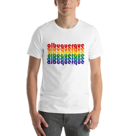 Albuquerque Pride Rainbow Short-Sleeve Unisex T-Shirt by Pridethings™