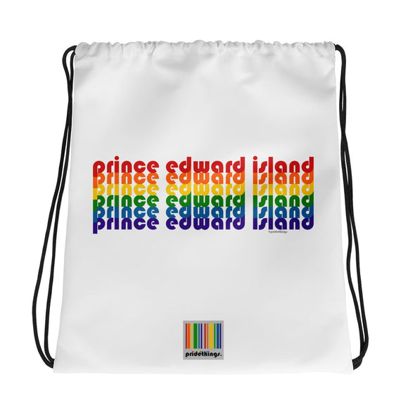 Prince Edward Island Pride Rainbow Drawstring Bag by Pridethings™