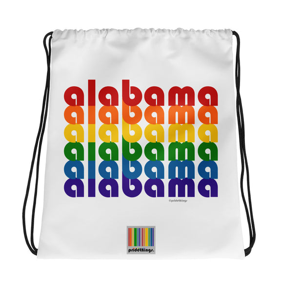Alabama Pride Rainbow Drawstring Bag by Pridethings™