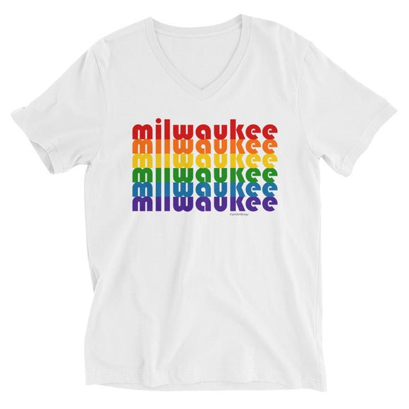 Milwaukee Pride Rainbow Unisex Short Sleeve V-Neck T-Shirt by Pridethings™