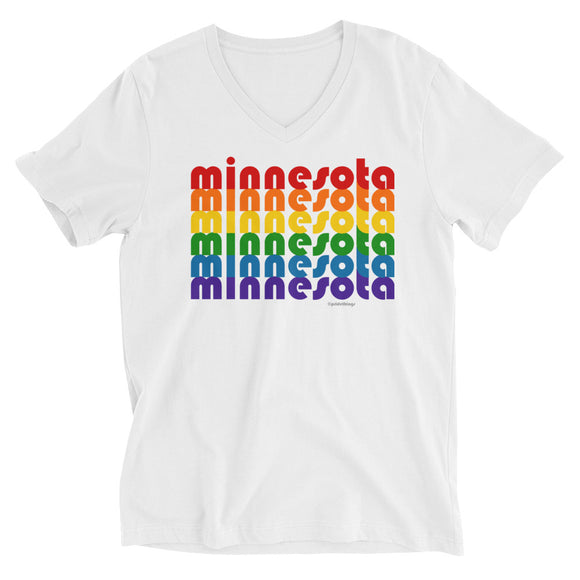Minnesota Pride Rainbow Unisex Short-Sleeve V-Neck T-Shirt by Pridethings™