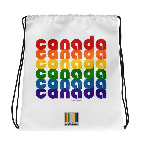 Canada Pride Rainbow Drawstring Bag by Pridethings™