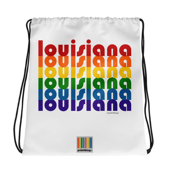 Louisiana Pride Rainbow Drawstring Bag by Pridethings™