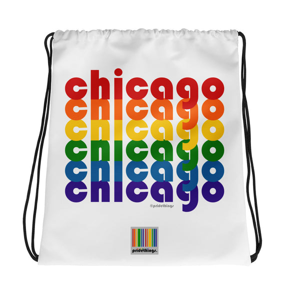 Chicago Pride Rainbow Drawstring Bag by Pridethings™