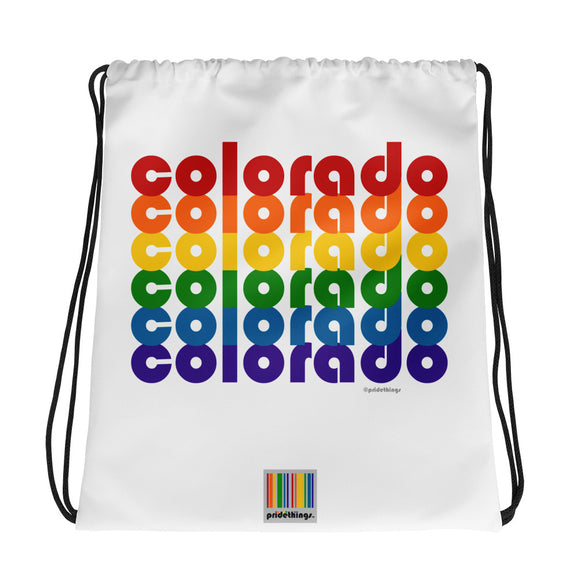 Colorado Pride Rainbow Drawstring Bag by Pridethings™