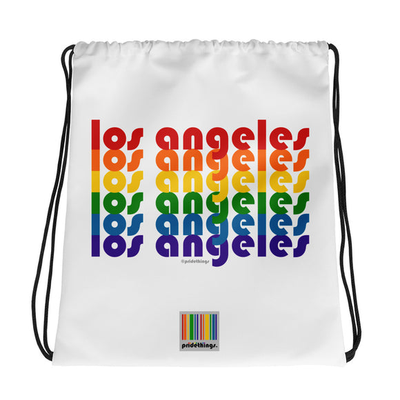 Los Angeles Pride Rainbow Drawstring Bag by Pridethings™